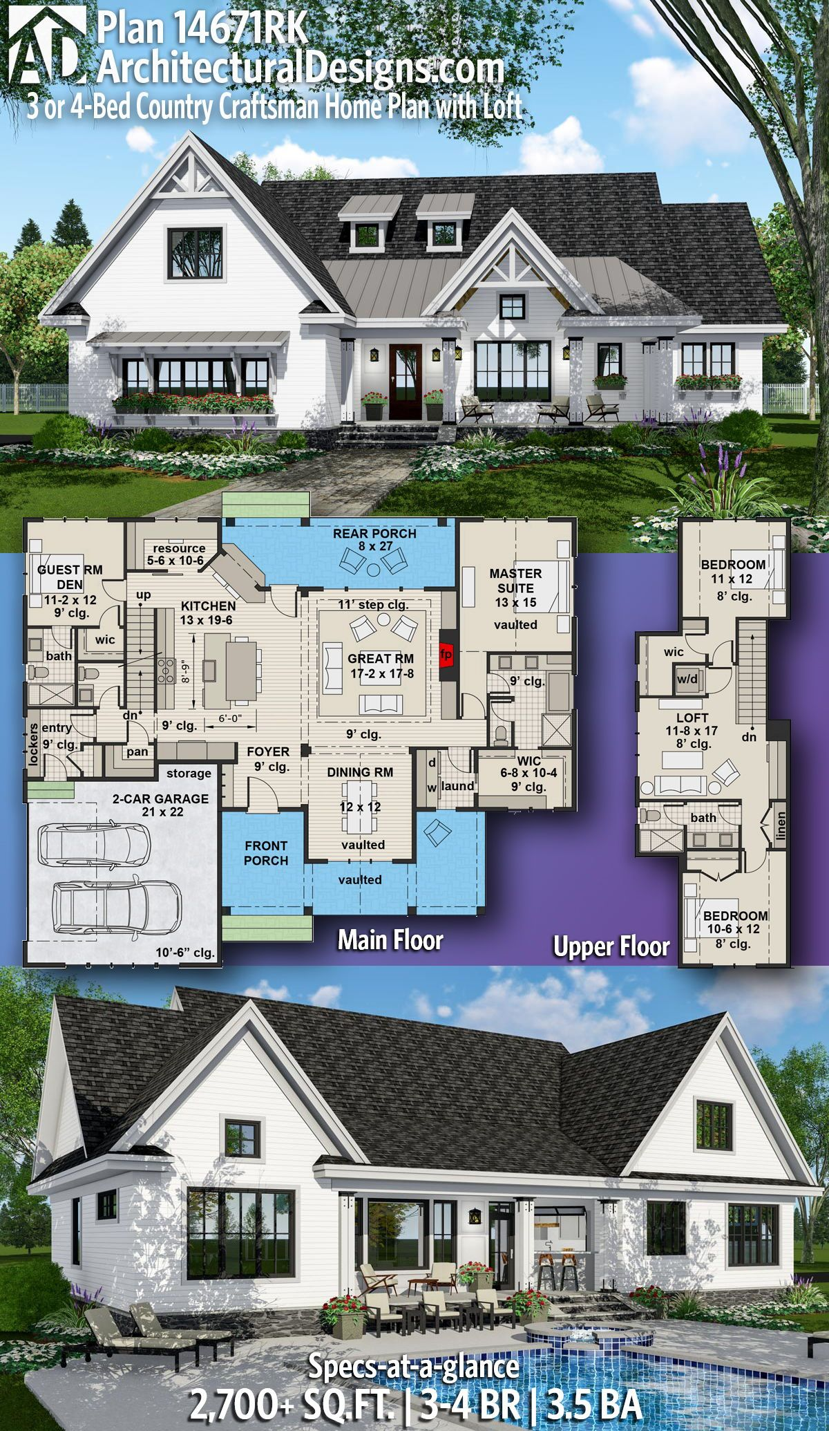Plan 14671rk 3 Or 4 Bed Country Craftsman Home Plan With Loft Craftsman House Plans House Plans Farmhouse New House Plans