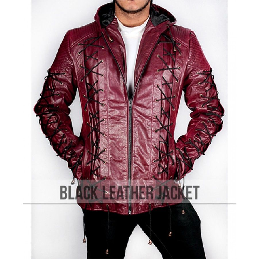Arrow Arsenal Red Colton Haynes Hooded Leather Jacket Best For Halloween