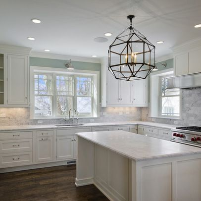Kitchens   Suzanne Kasler Large Morris Lantern Ralph Lauren Home Anette  Library Light Blue Walls Creamy White Shaker Kitchen Cabinets Kitchen  Island Marble ...