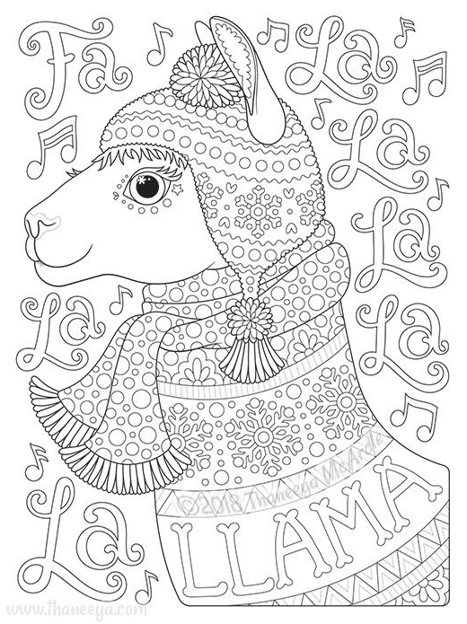 Holiday Cheer Coloring Book By Thaneeya Mcardle Llama Coloring