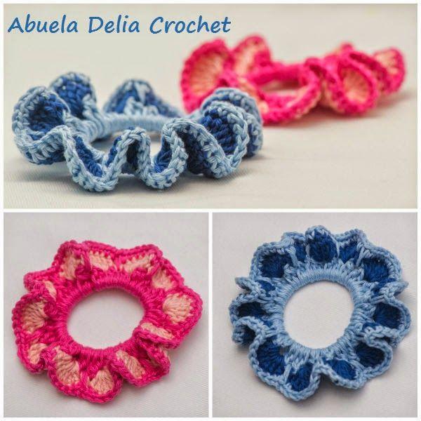 Gomitas para el cabello con volado en Crochet | accesorios para el ...