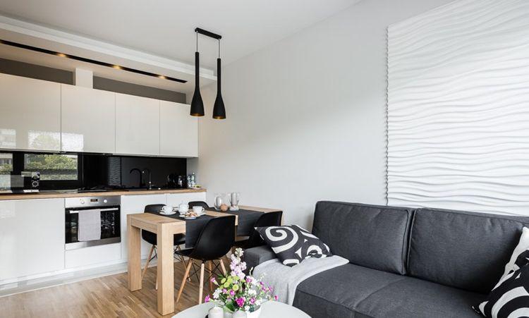 20 qm offener wohnbereich mit essplatz, sofa und küche #house