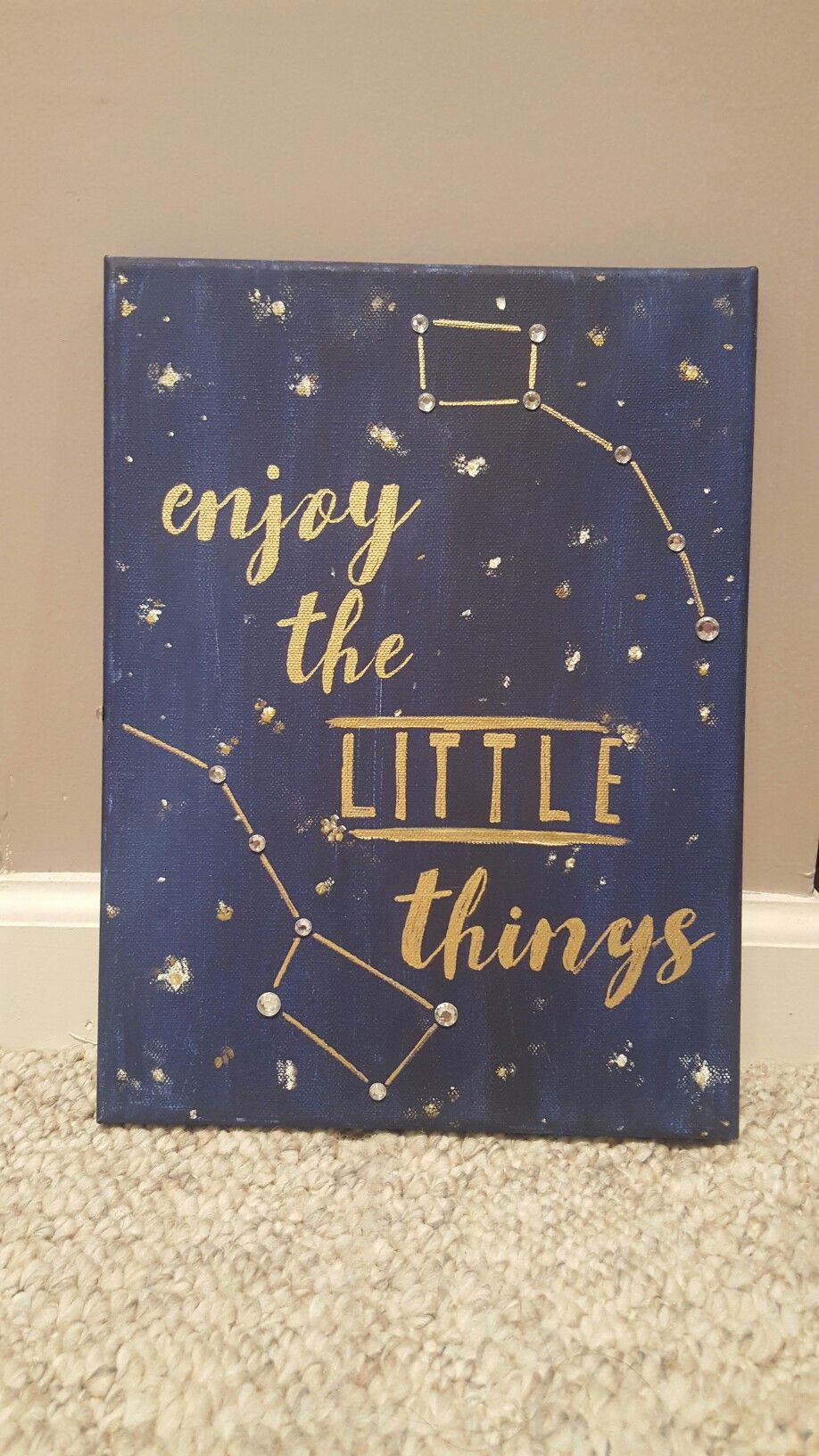 Enjoy the little things big/little constellation canvas  #biglittle #crafting #canvas #stars #sorority #biglittlecanvas