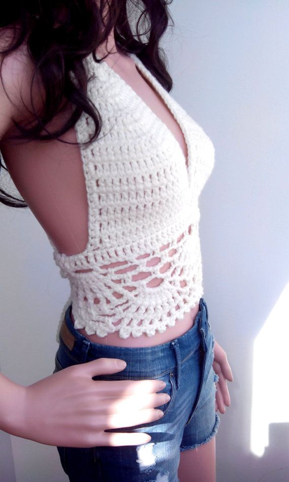 CREAM FESTIVAL TOP Corset Hippie Bustier Knit Sexy Crochet Bra ...