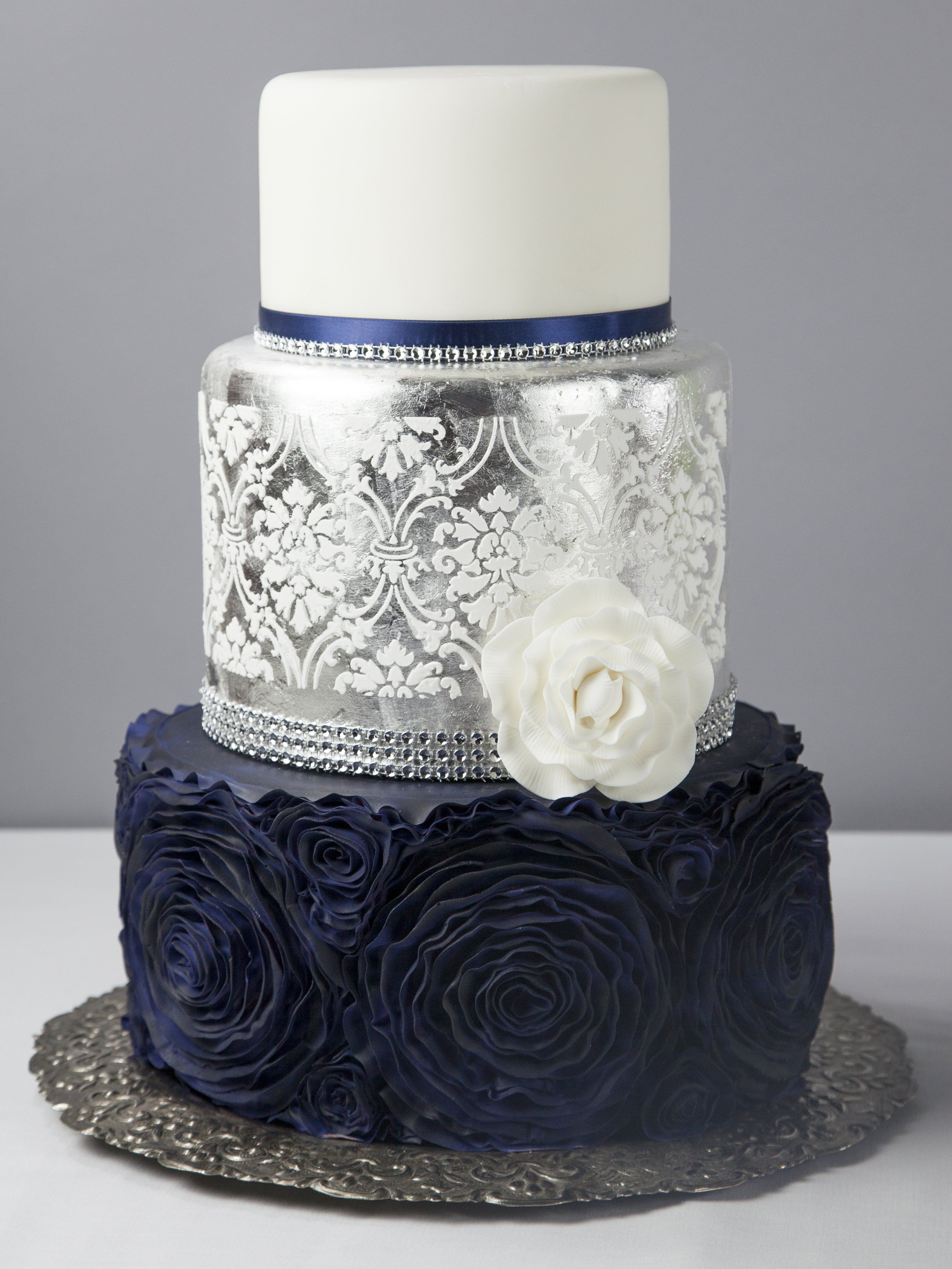 Midnight Blue Wedding Cake Cakes Toppers Wedding Cakes White