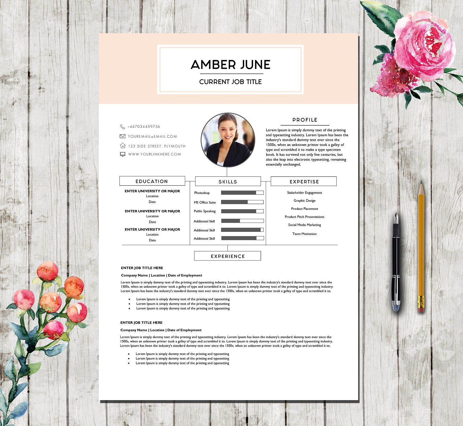 Resume Template 5 Pages Pink Executive Teacher Cv Template For