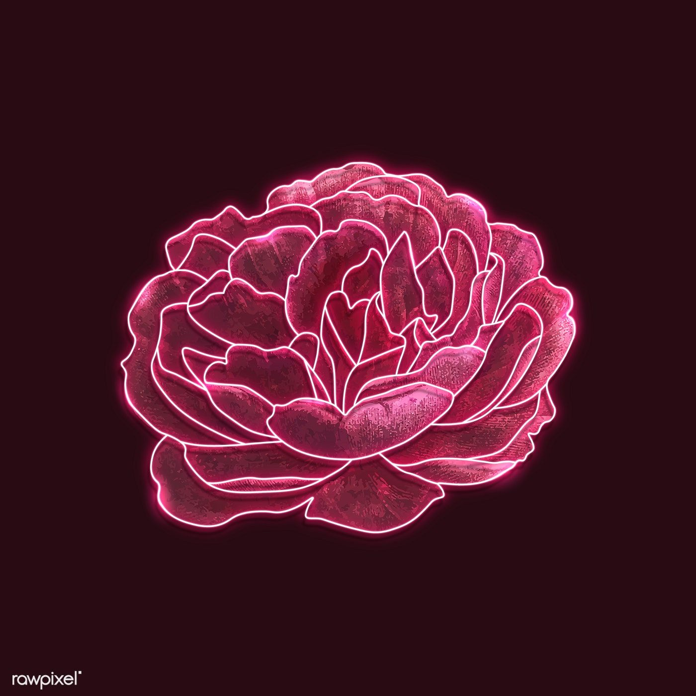 Download Premium Illustration Of Red Neon Rose On A Black Background In 2020 Neon Aesthetic Neon Flowers Neon Wallpaper