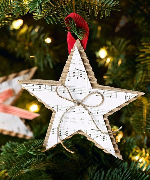 christmas holidays Show off your favorite holiday tune by displaying the sheet music in the form of a star Place a small bow in the middle for an added accent Get the tut...