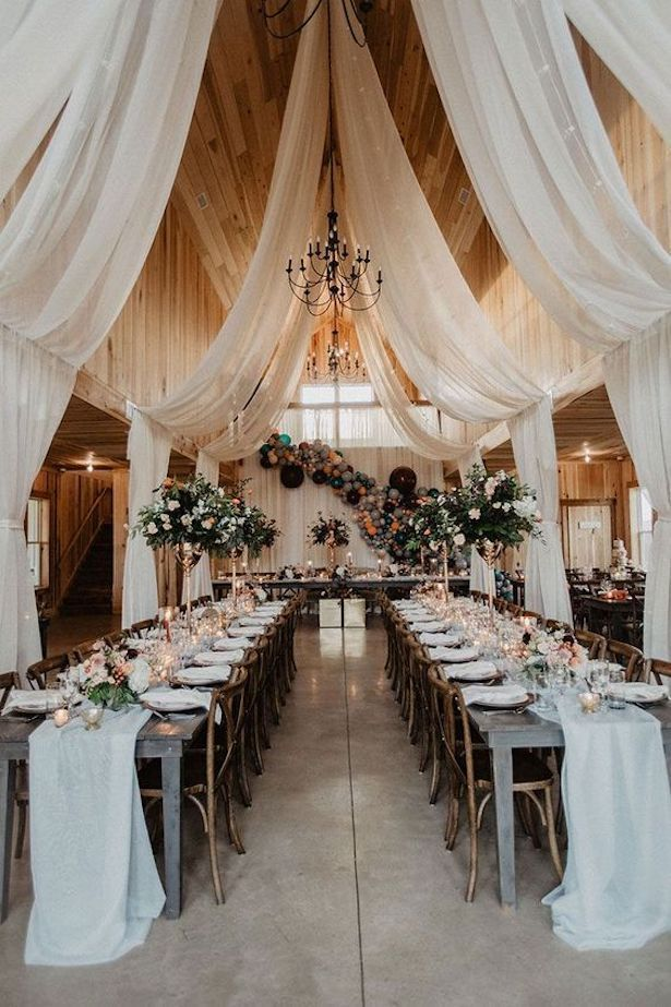 Rustic Chic Wedding Reception Decor  with ceiling draping installation- Photography by Wild Native C