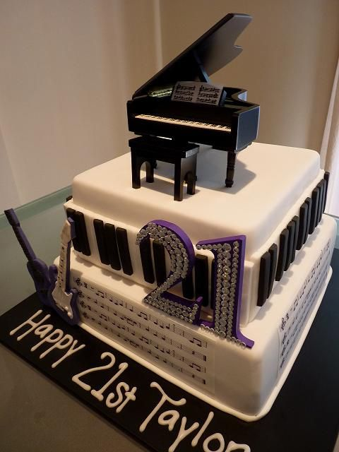 Astonishing 21St Birthday Cake For A Music Lover Birthday Cake Music Cakes Funny Birthday Cards Online Alyptdamsfinfo