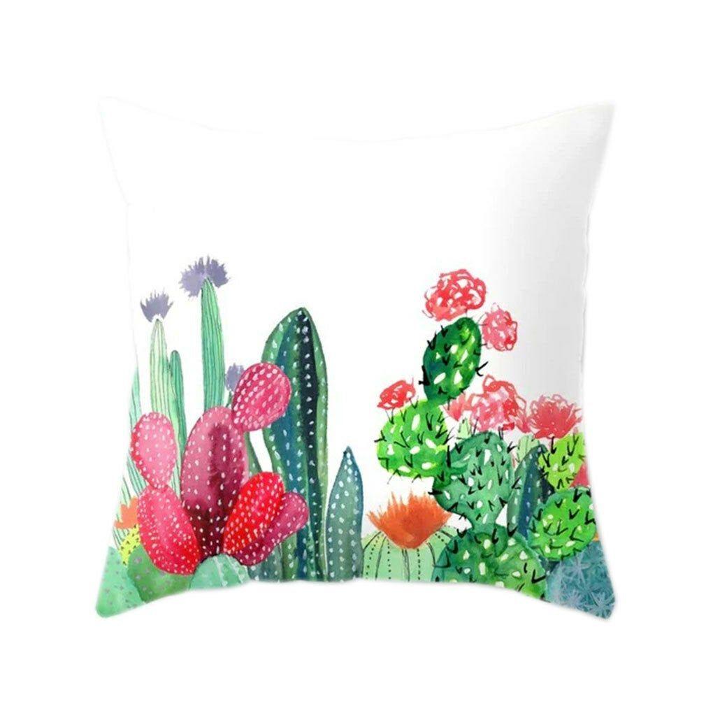 Cactus Pillow Cover Silk Jersey Knit Colorful Pillows Throw Pillows Pillows