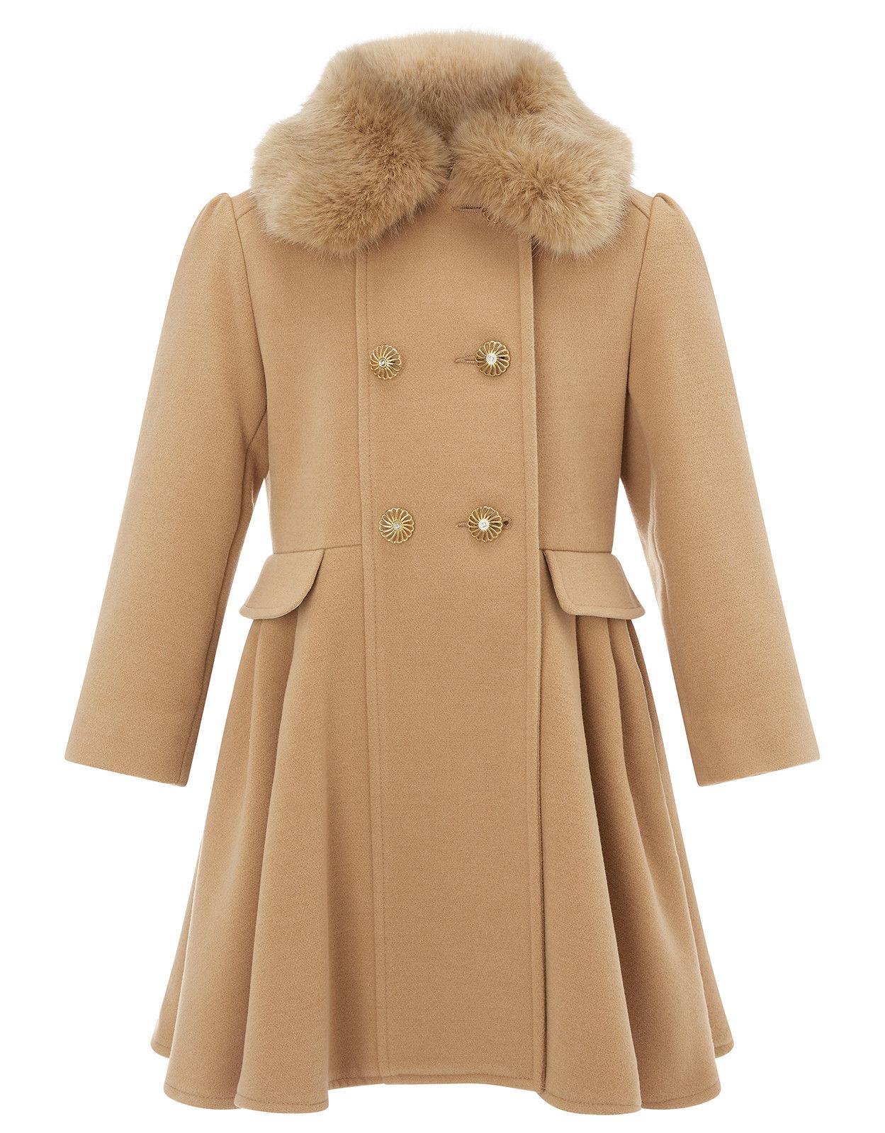 4be7b53046c2 Girls Monsoon Beige Natalia Fur Swing Dress Fit Flare Jacket Coat 3 ...