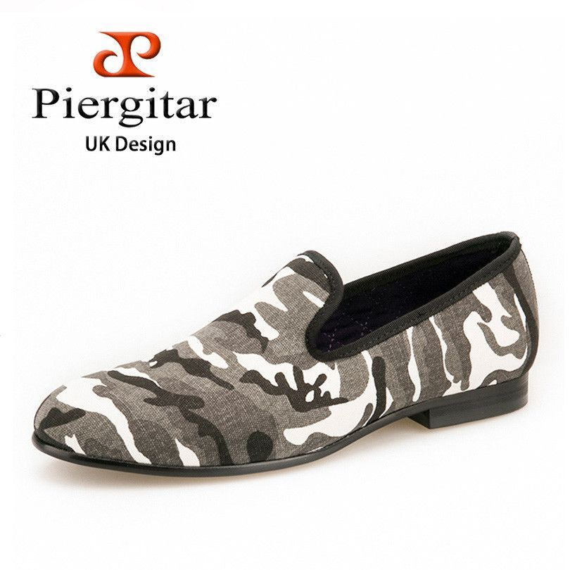 Piergitar 2016FW New Design White & Grey & Tan Camouflage Casual Men's Denim Loafer For Daily Party Prom and Banquet men's flats