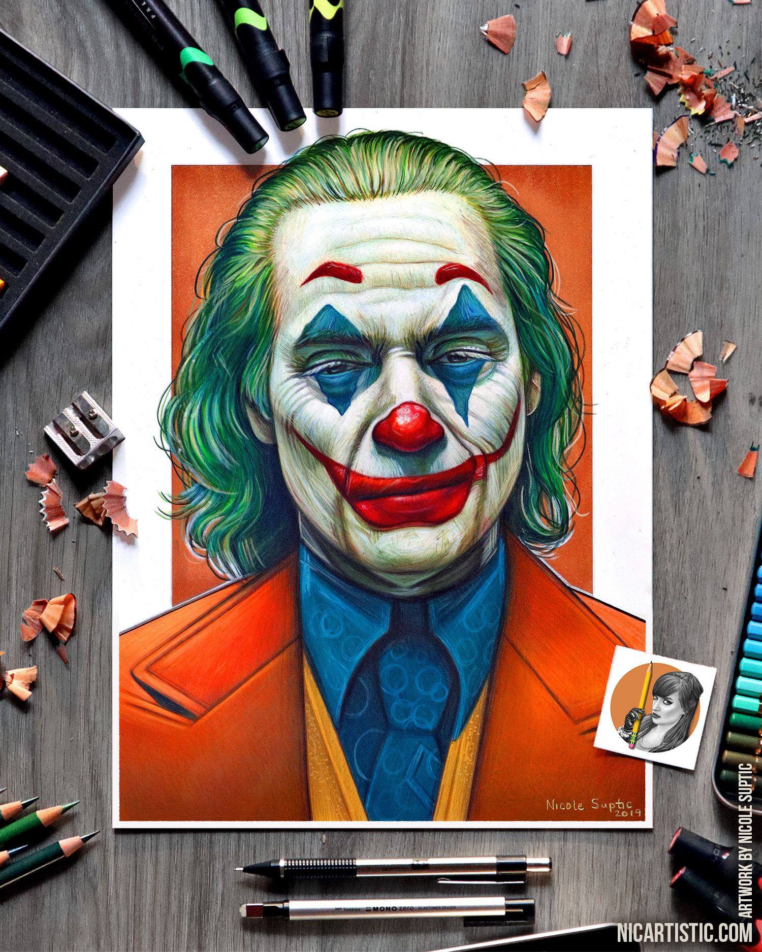 Drawing Joker With Colored Pencils And Markers Joaquin Phoenix Joker Drawings Art Markers Drawing Colored Pencil Artwork