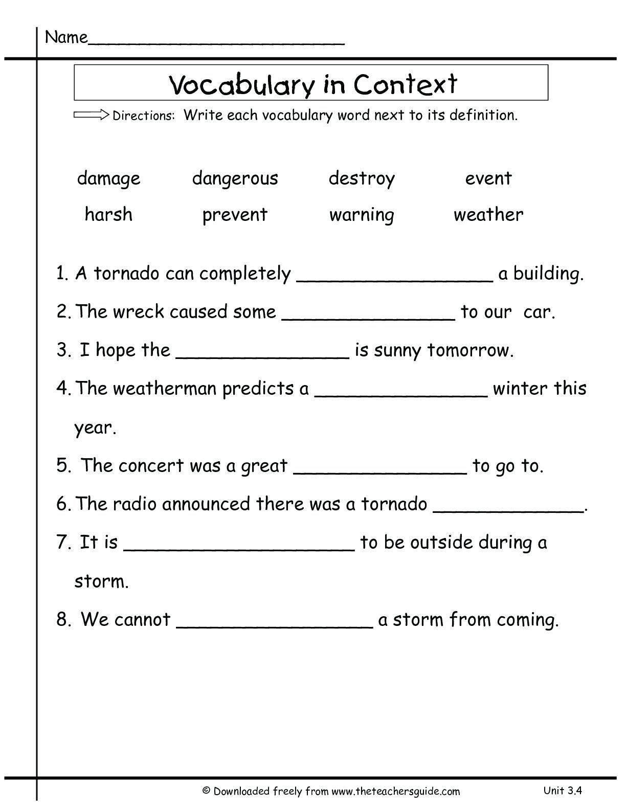Worksheet Ideas Vocabulary Words Worksheets Image With
