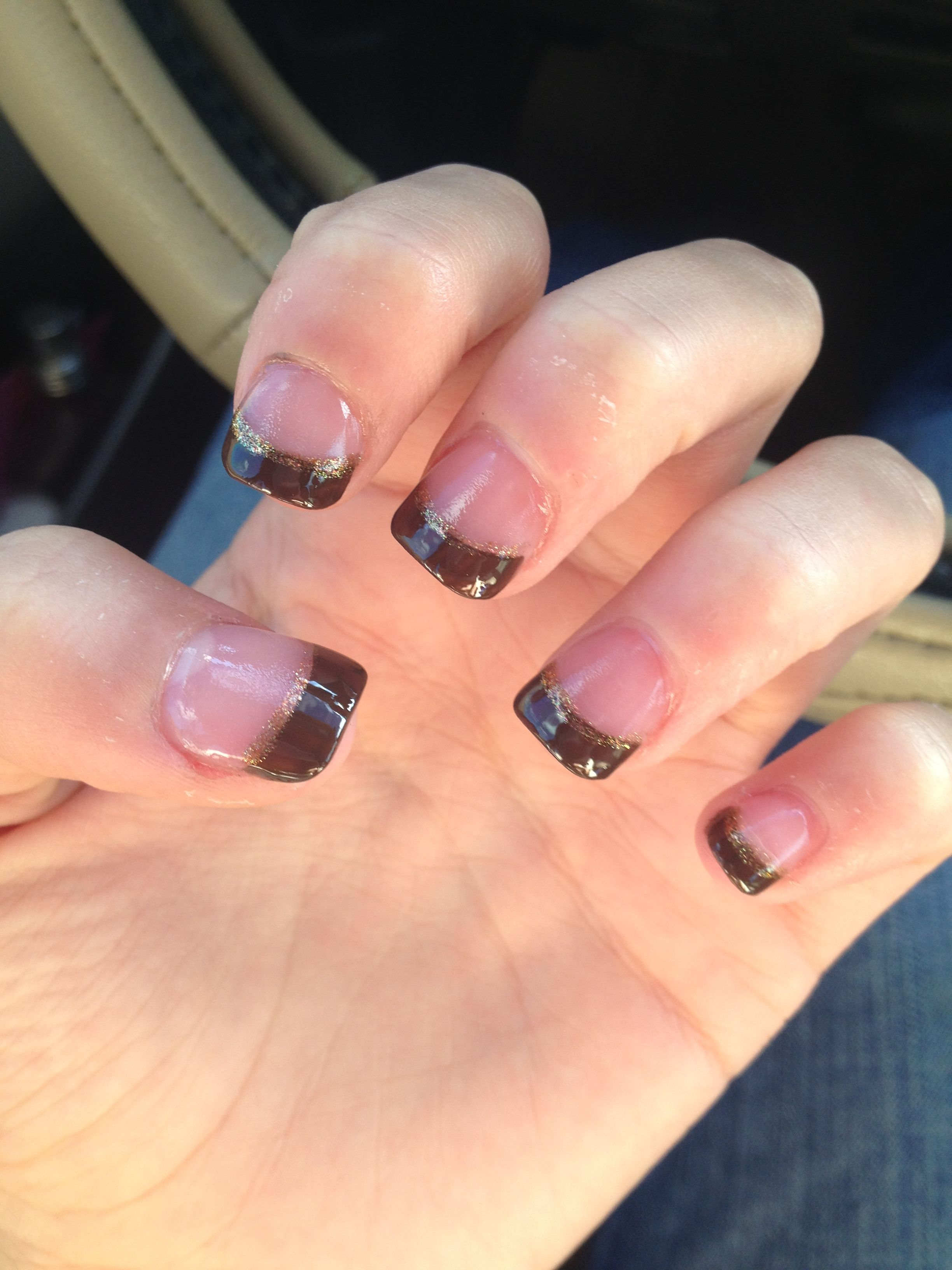 fall nails brown french tips