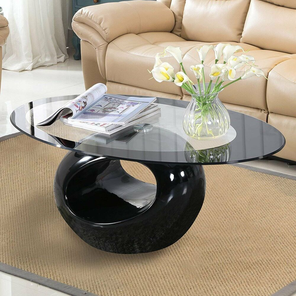 Glass Oval Coffee Table Contemporary Round Hollow Shelf Living