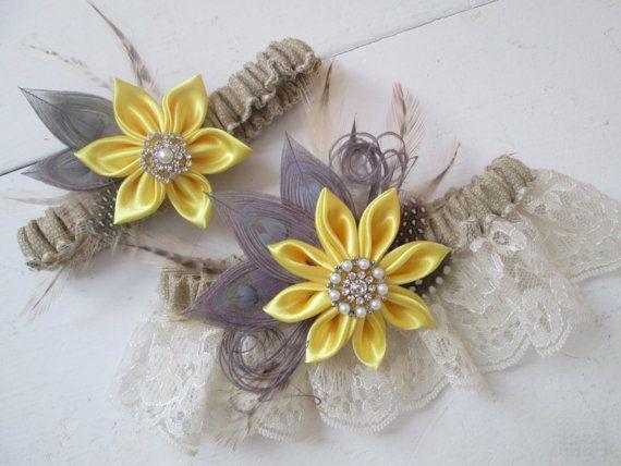 Yellow & Gray Wedding Garter Set Silver Peacock Garters