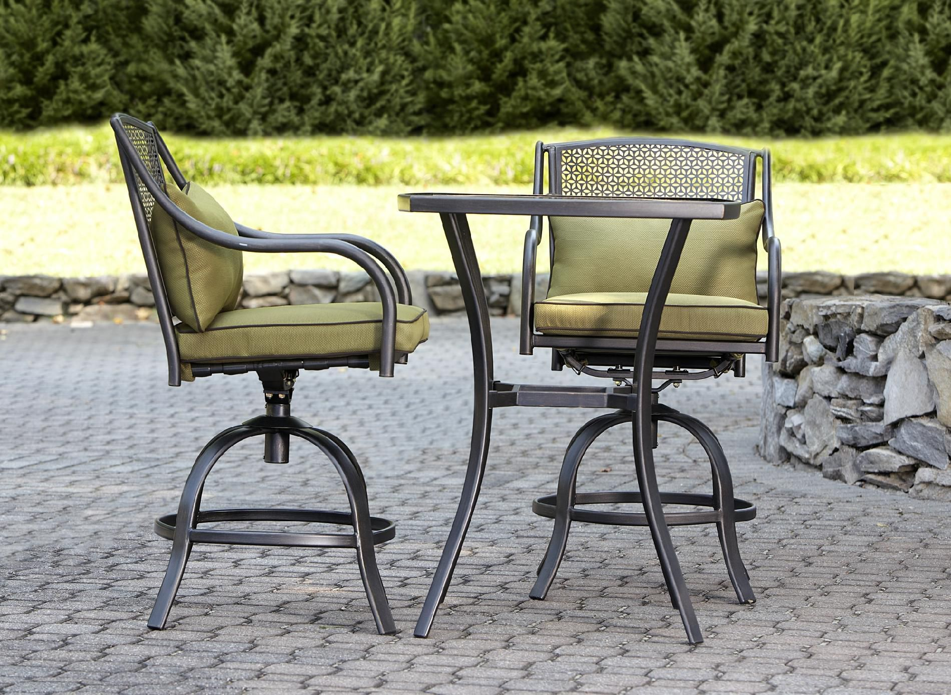 Bowery 3Pc Stamped Back Tall Bistro Set Sit and Sip with Set from