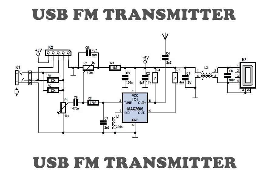 USB FM transmitter circuit | Circuits, Arduino and Diy electronics