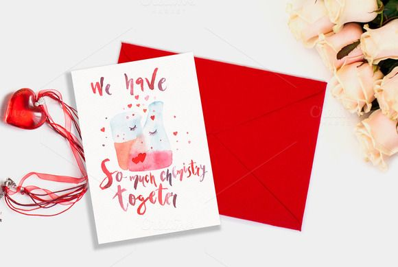 Valentines day card Chemistry by Romantic shop on Creative Market