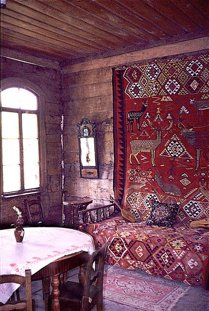 Old Russian Wooden House Interior 1 Bohemian Wooden