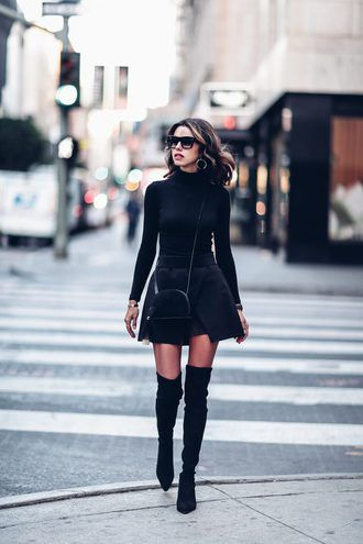 e857d344452ed skirt tumblr mini skirt black skirt asymmetrical asymmetrical skirt over  the knee boots thigh-high boots thigh high boots boots black boots pointed  boots ...