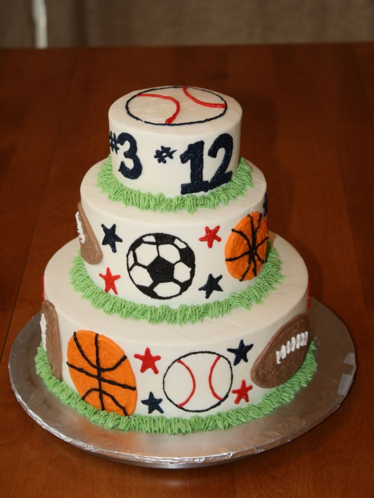 Terrific 3 Tier Sports Birthday Cake Sports Birthday Cakes Sports Themed Funny Birthday Cards Online Elaedamsfinfo