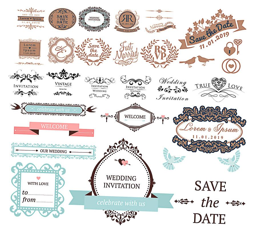 Decoration elements for wedding invitation vector free for download ...