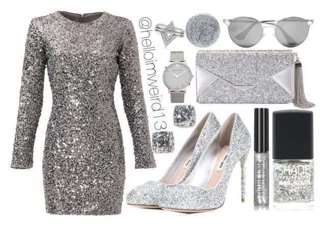 """silver glitter"" by helloimweird13 on Polyvore featuring Slate & Willow, Miu Miu, Lane Bryant, BCBGMAXAZRIA, Prada, Larsson & Jennings, Kate Spade, Topshop and Smith & Cult"