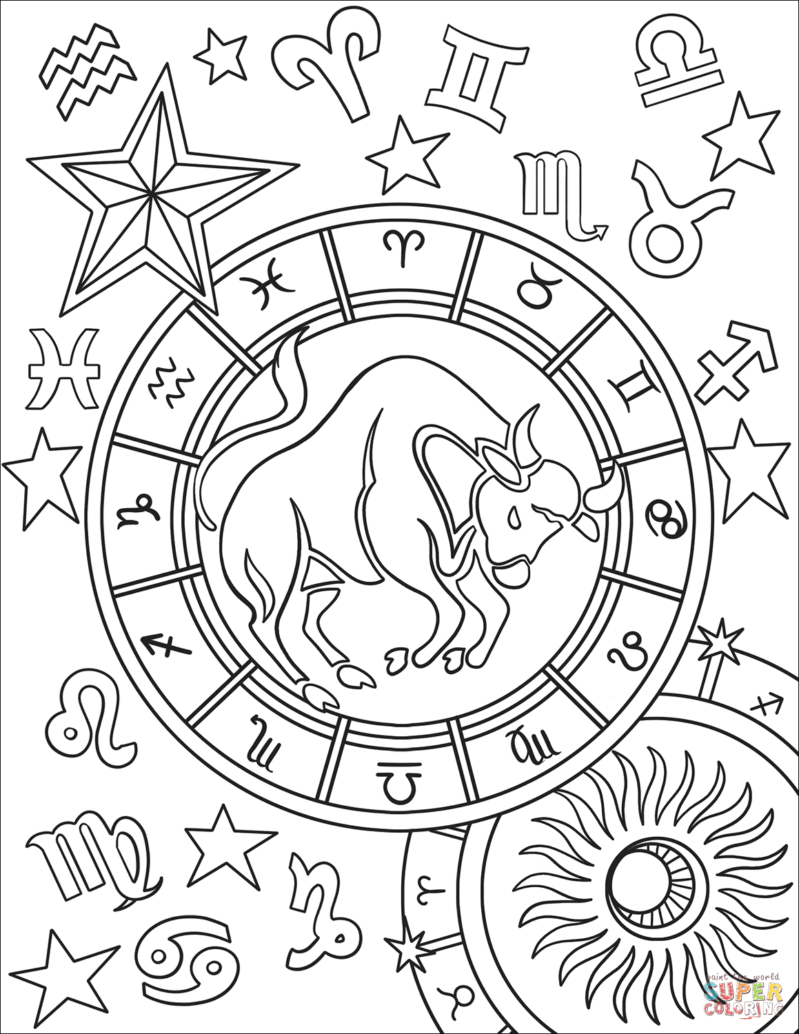 Taurus Zodiac Sign Coloring Page Free Printable Coloring Pages Witch Coloring Pages Zodiac Signs Colors Coloring Pages