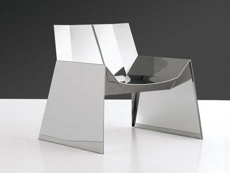 Stainless steel armchair ALASKA by Cattelan Italia