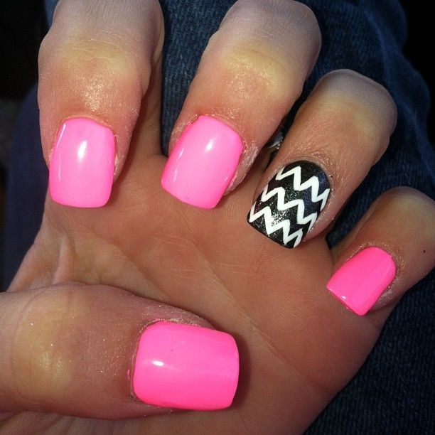 Pink Nails With Black And White Stripe
