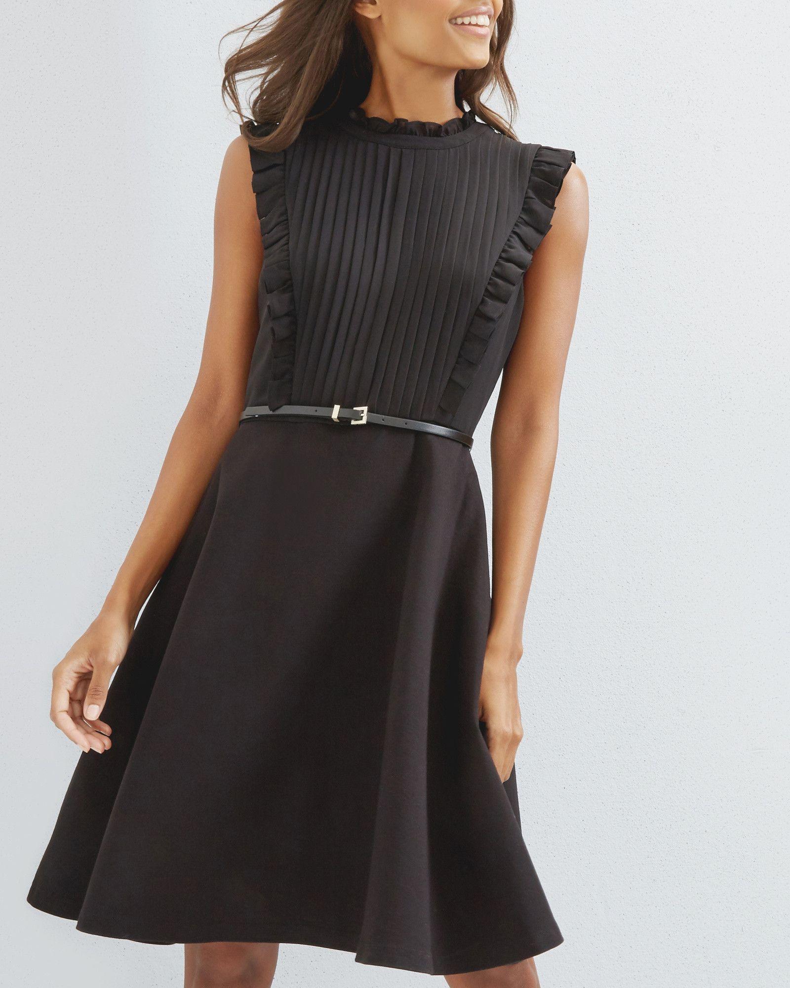 2b4f02c254d Ruffle pleated dress - Black