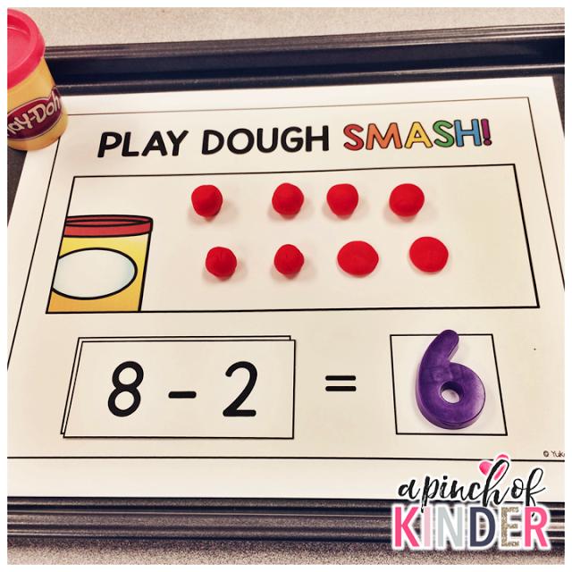 A Pinch Of Kinder Subtraction Centres Play Dough Smash