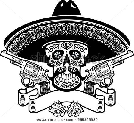 72fad956c0eaf mexican skull with sombrero, roses, guns and banner New Mexico Tattoo,  Candy Skulls