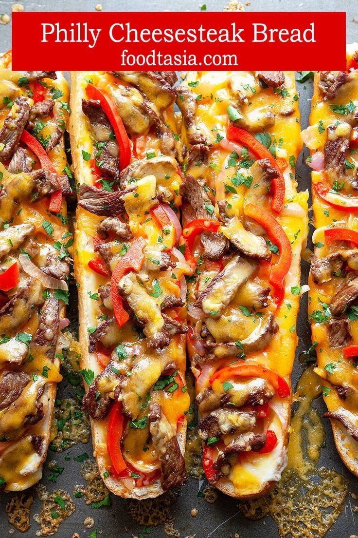 Cheesy Philly Cheesesteak Bread Melty cheese, strips of juicy steak, and sautéed peppers and onions, toasted on top of crusty French bread, this Cheesy Philly Cheesesteak Bread is a cross between a Philly Cheesesteak and a French bread pizza. Perfect for gameday, appetizer, snacking, or an easy dinner. Quick, easy, delicious.