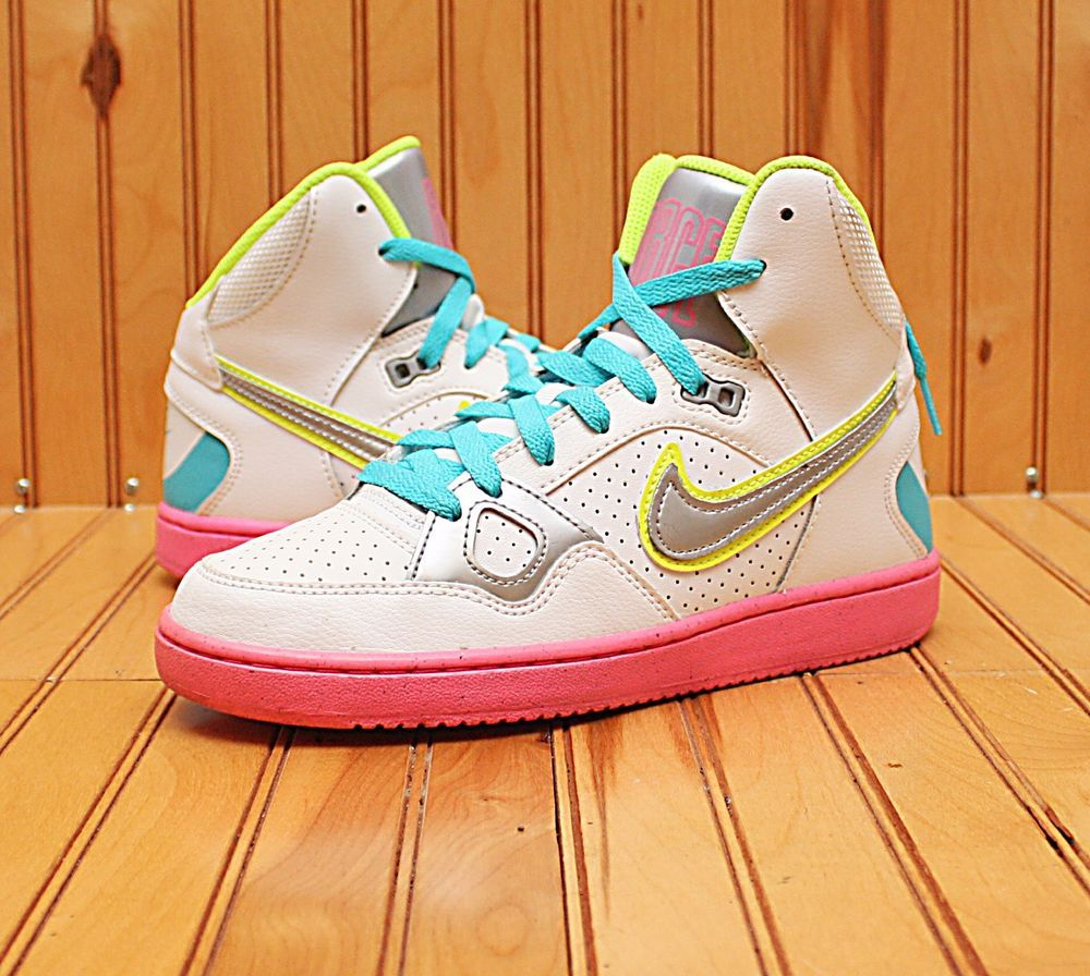 a184aec71f0f 2013 Nike Son Of Force Mid Size 7 -White Metallic Silver Pink Glow- 616303  100