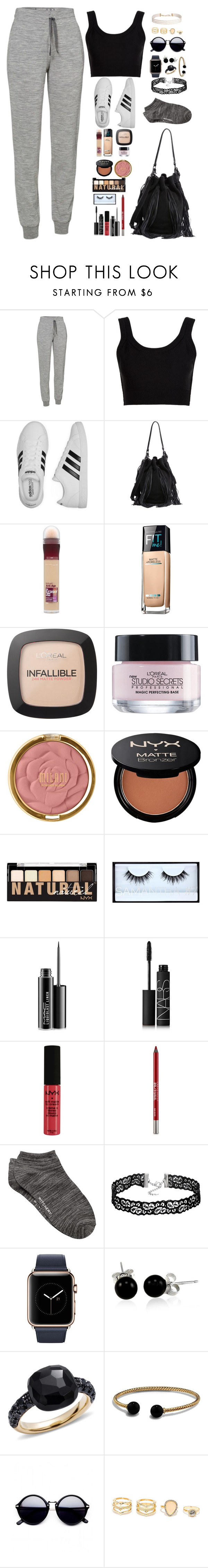 """""""Untitled #7458"""" by rebekah3383 ❤ liked on Polyvore featuring Icebreaker, Calvin Klein Collection, adidas, Loeffler Randall, Maybelline, L'Oréal Paris, Milani, NYX, Huda Beauty and MAC Cosmetics"""