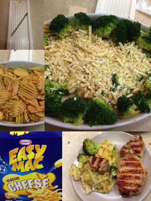 Get your kids to eat their veggies. Slice potato very thinly. Mix through cheesy easy mac. Add small amount of milk. Surround with 'trees' - broccoli. Sprinkle on extra cheese. Cover in foil and bake at 180 degrees for 40-60 minutes.  Serve with lean meat such as these pork fillets. My boys ate it all!!!!!