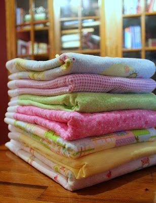 Handmade Receiving Blanket Burp Cloth Sewing
