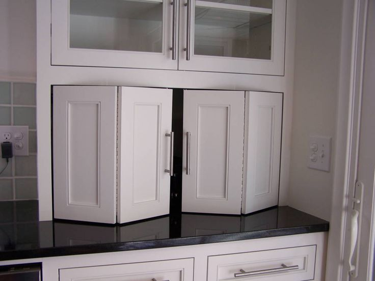 Frosted Glass Vertical Lift Doors On Standard Kitchen Cabinets