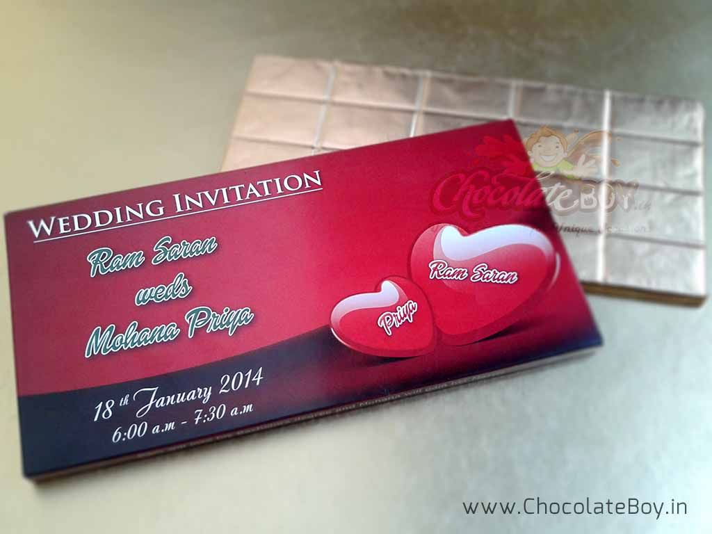 Chocolate bar packed in a personalized wedding invitation box ...