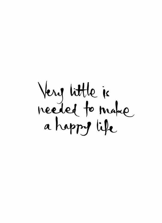 Very little is needed to make a happy life. www