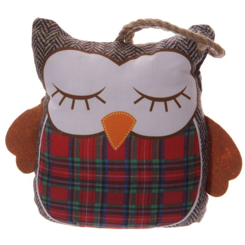 Cute Red Tartan Owl Shaped Polyester Door Stop Add Colour Design