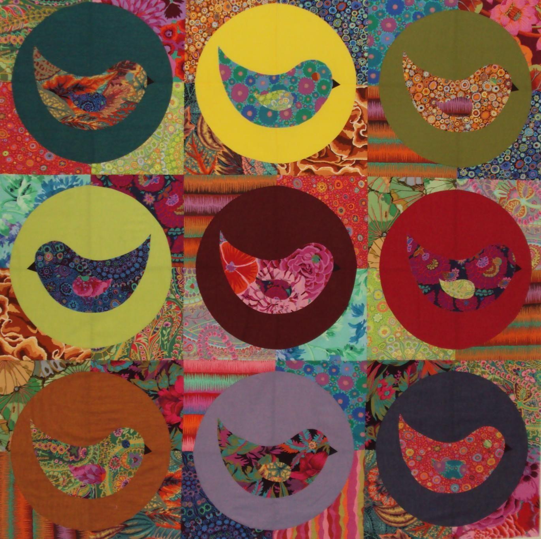 """Nine Birds"" in Kaffe Fassett Fabric at Ballarat Patchwork.  Pattern by Emma Jansen"