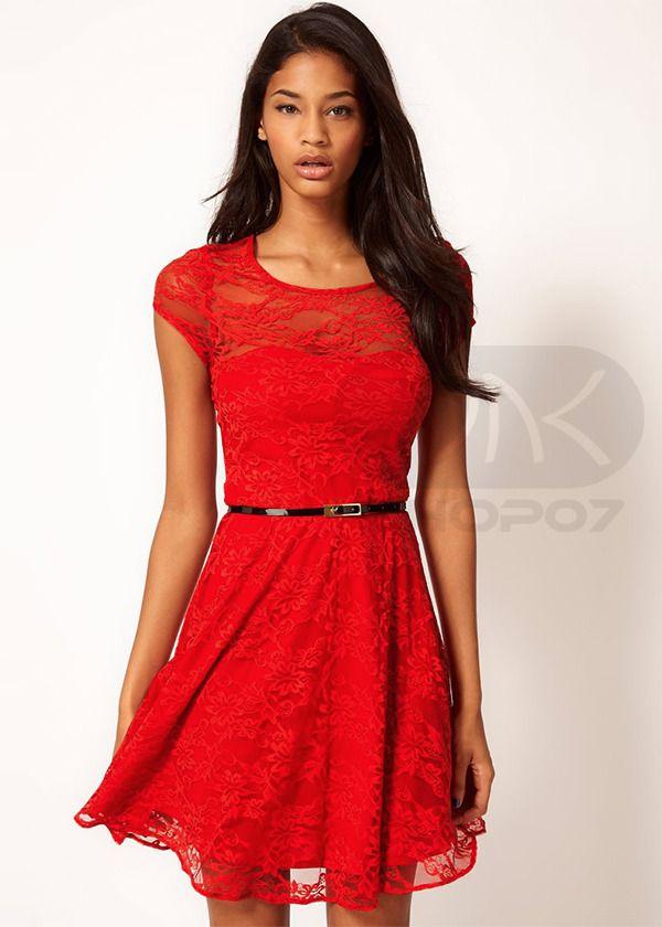 Sukienka Koronka Czerwona Walentynki Ds 3357l L 40 3006980974 Oficjalne Archiwum Allegro Dresses Lace Skater Dress Latest Fashion Clothes