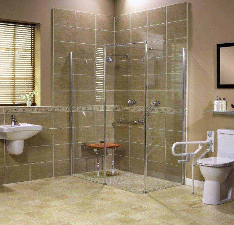 Bathroom Construction Ideas: Roll In Handicapped Shower With Barrier Free Shower Base