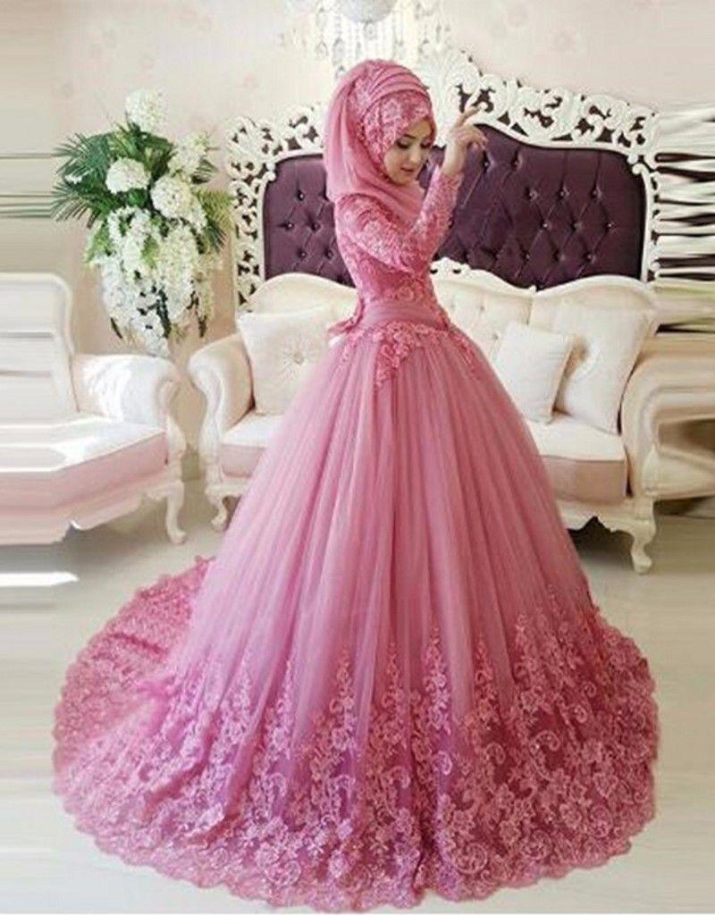 Arabic Muslim Wedding Dress Hijab Long Sleeve 2016 Turkish Gelinlik ...