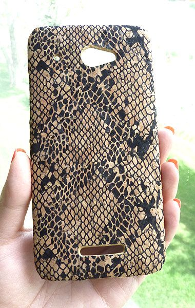 For HTC Droid DNA EcoFriendly Black Python Snake Natural Wood Cork Phone Case Cover by Yunikuna